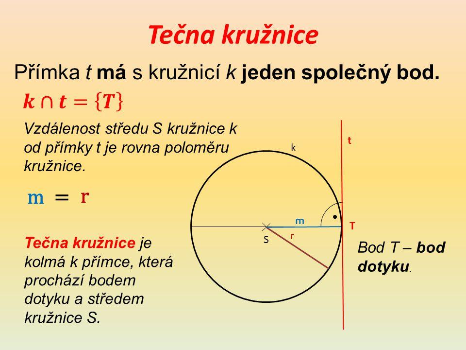 Sečna kružnice Přímka s má s kružnicí k dva společné body.