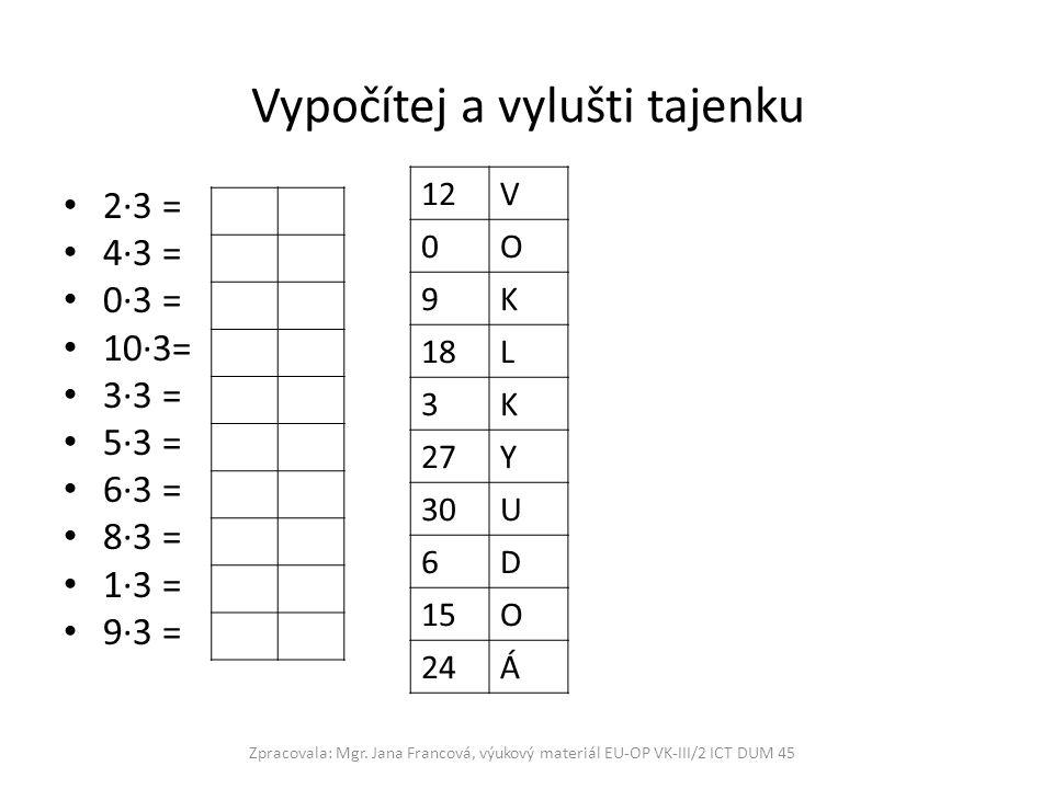 Vypočítej a vylušti tajenku 2·3 = 4·3 = 0·3 = 10·3= 3·3 = 5·3 = 6·3 = 8·3 = 1·3 = 9·3 = Zpracovala: Mgr. Jana Francová, výukový materiál EU-OP VK-III/