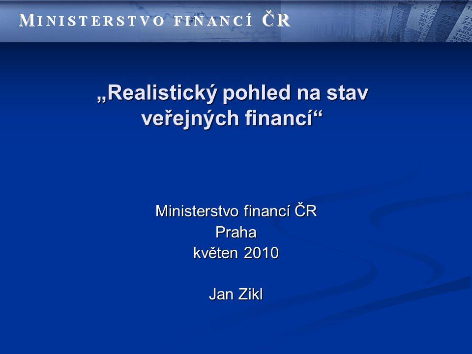 """""""Realistický pohled na stav veřejných financí Ministerstvo financí ČR Praha květen 2010 Jan Zikl"""