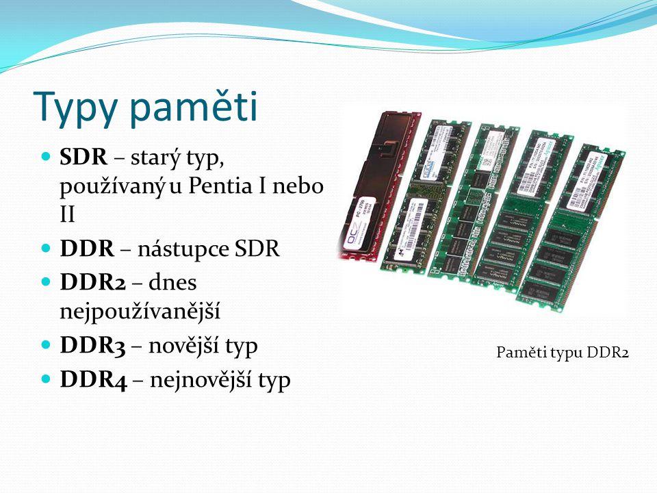 Typy paměti SDR – starý typ, používaný u Pentia I nebo II DDR – nástupce SDR DDR2 – dnes nejpoužívanější DDR3 – novější typ DDR4 – nejnovější typ Pamě
