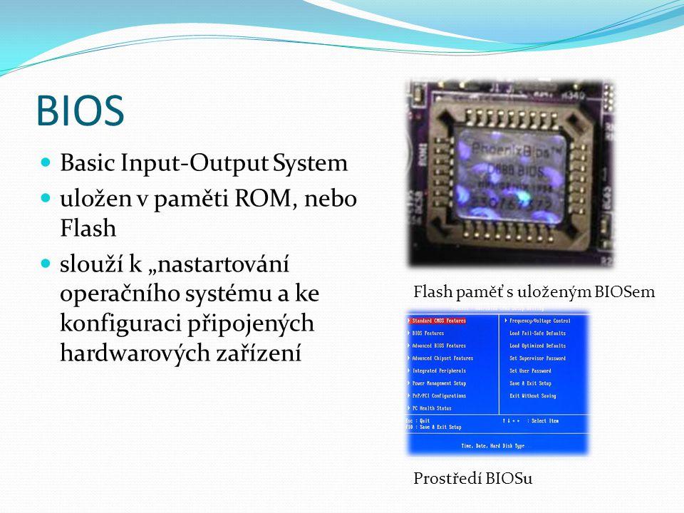 """BIOS Basic Input-Output System uložen v paměti ROM, nebo Flash slouží k """"nastartování operačního systému a ke konfiguraci připojených hardwarových zařízení Flash paměť s uloženým BIOSem Prostředí BIOSu"""