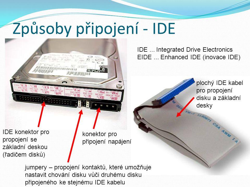 Způsoby připojení - IDE IDE konektor pro propojení se základní deskou (řadičem disků) konektor pro připojení napájení jumpery – propojení kontaktů, které umožňuje nastavit chování disku vůči druhému disku připojeného ke stejnému IDE kabelu plochý IDE kabel pro propojení disku a základní desky IDE...