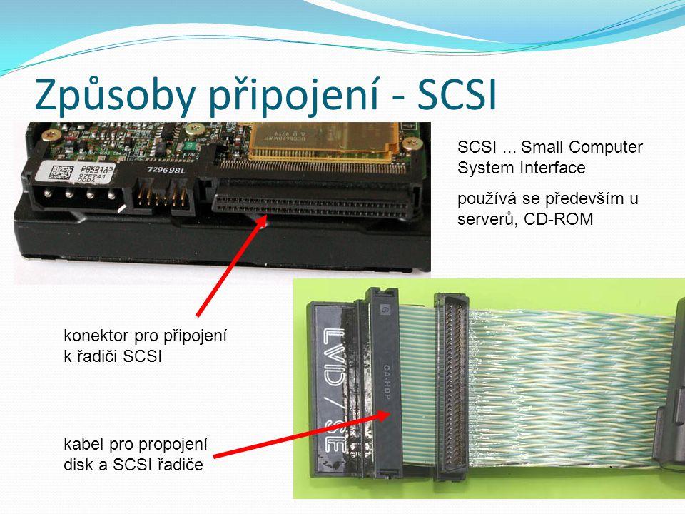 Způsoby připojení - SCSI SCSI... Small Computer System Interface používá se především u serverů, CD-ROM konektor pro připojení k řadiči SCSI kabel pro