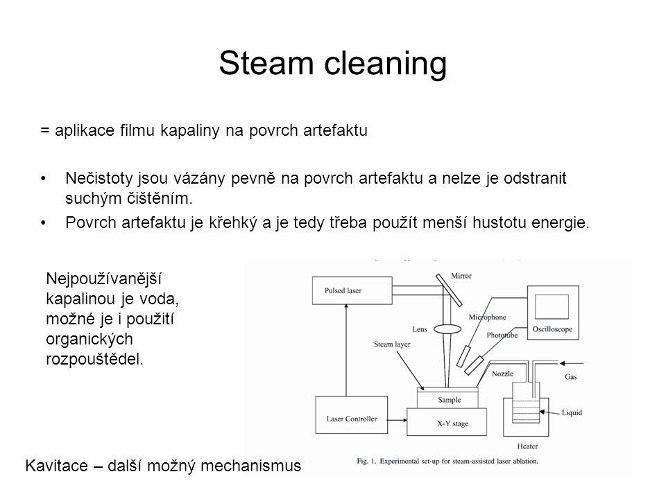 Steam cleaning = aplikace filmu kapaliny na povrch artefaktu Nečistoty jsou vázány pevně na povrch artefaktu a nelze je odstranit suchým čištěním. Pov