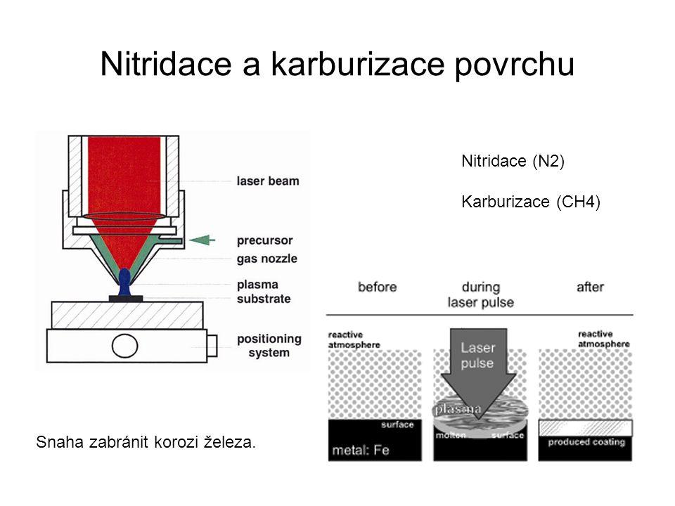 Nitridace a karburizace povrchu Nitridace (N2) Karburizace (CH4) Snaha zabránit korozi železa.