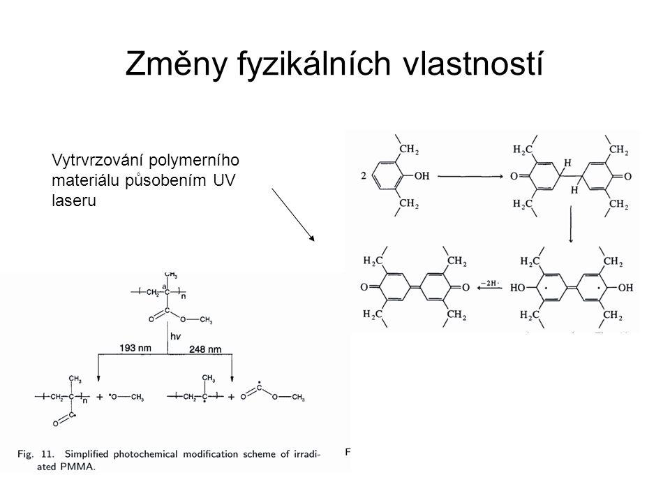Změny fyzikálních vlastností Vytrvrzování polymerního materiálu působením UV laseru
