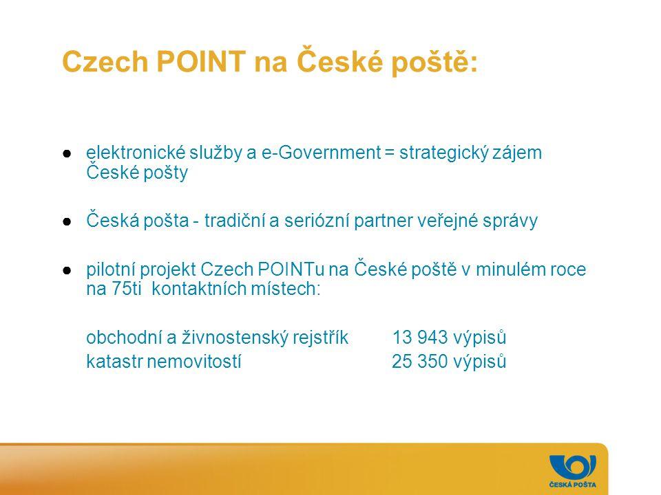 Czech POINT na České poště: ●elektronické služby a e-Government = strategický zájem České pošty ●Česká pošta - tradiční a seriózní partner veřejné spr