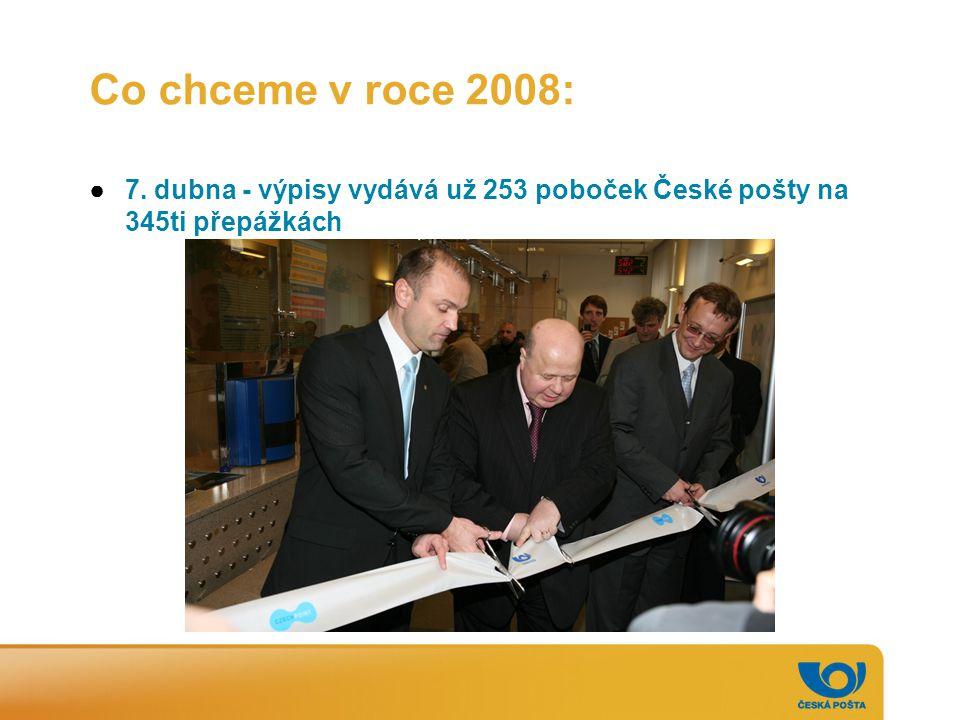 Co chceme v roce 2008: ●7. dubna - výpisy vydává už 253 poboček České pošty na 345ti přepážkách
