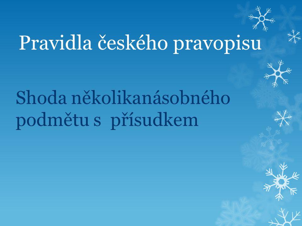 Pravidla českého pravopisu Shoda několikanásobného podmětu s přísudkem