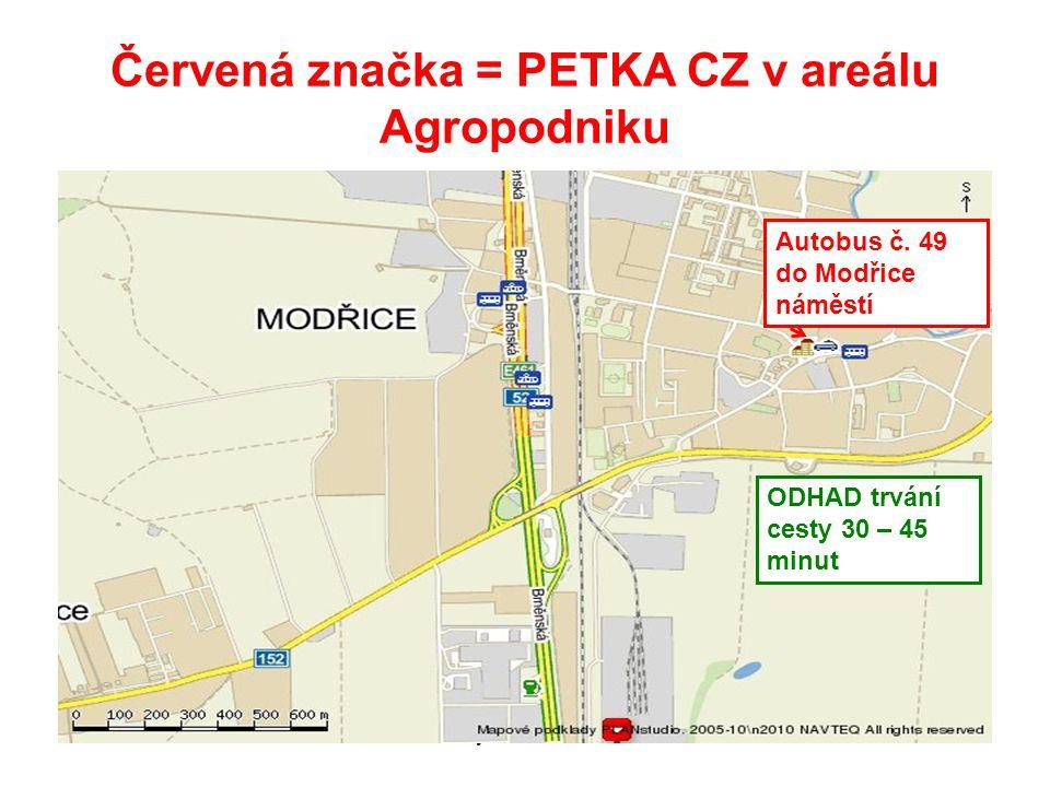 Červená značka = PETKA CZ v areálu Agropodniku 6.12.2010Recyklace 11 20105 Autobus č.