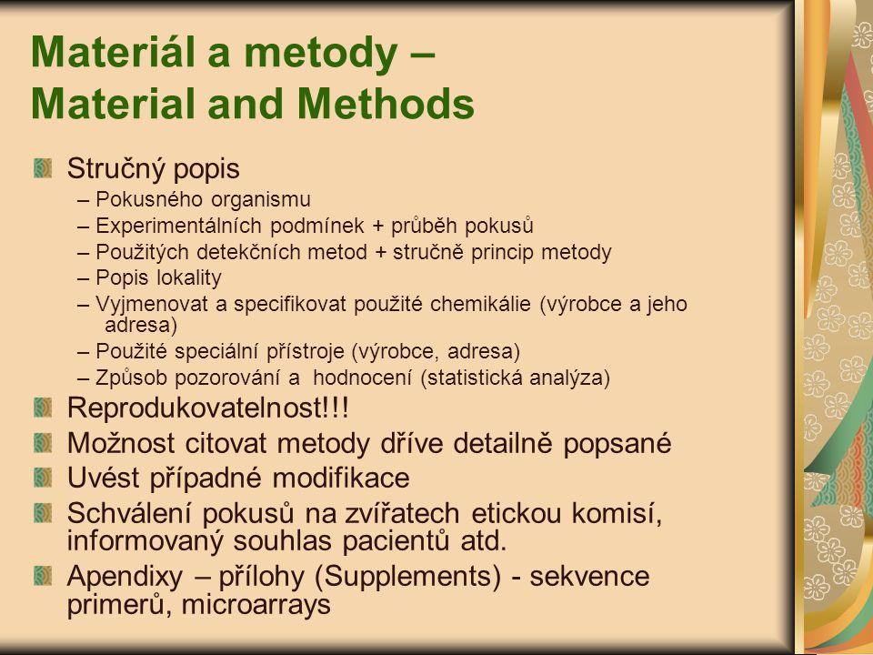 Materiál a metody – Material and Methods Stručný popis – Pokusného organismu – Experimentálních podmínek + průběh pokusů – Použitých detekčních metod
