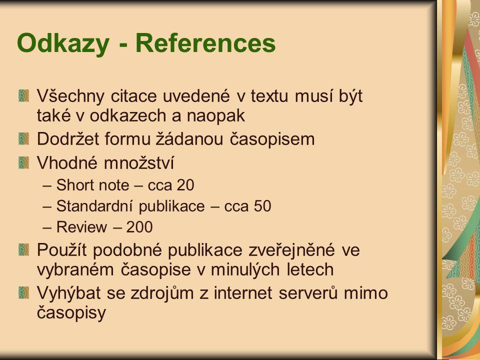 Odkazy - References Všechny citace uvedené v textu musí být také v odkazech a naopak Dodržet formu žádanou časopisem Vhodné množství – Short note – cc