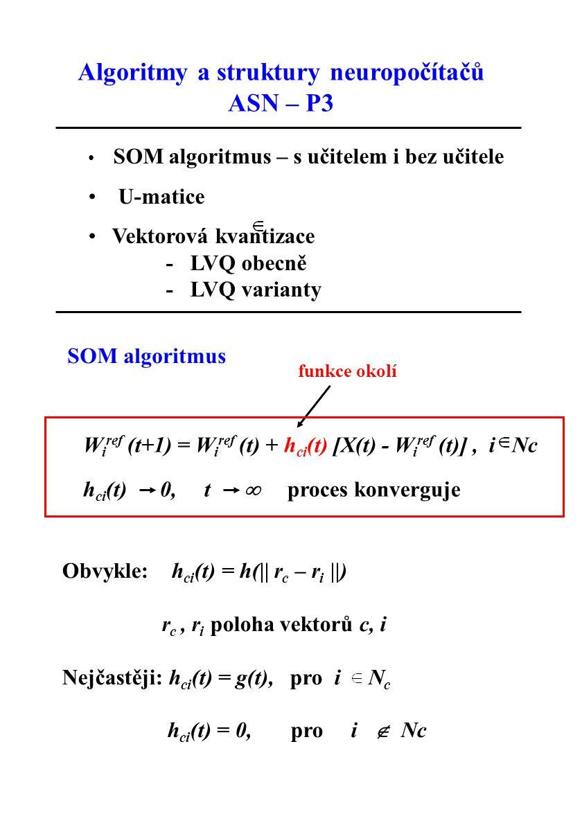 Adaptace W i ref (t+1) = W i ref (t) + g(t) [X(t) – W i ref (t)], i Nc W i ref (t+1) = W i ref (t), pro všechna ostatní i N c je zvolené okolí vítězného neuronu, t je okamžitý čas, g(t) je skalár představující rychlost učení (gains) 0 < g(t) < 1 přesnost mapování závisí na počtu iterací ( 500-krát více kroků než je neuronů v mapě) počet iterací je řádově 10 5 pro prvních 1000 iterací je obvykle g(t) konstantní, dále se monotónně snižuje (lineárně, exponenciálně, skokově,…) pouze doporučení