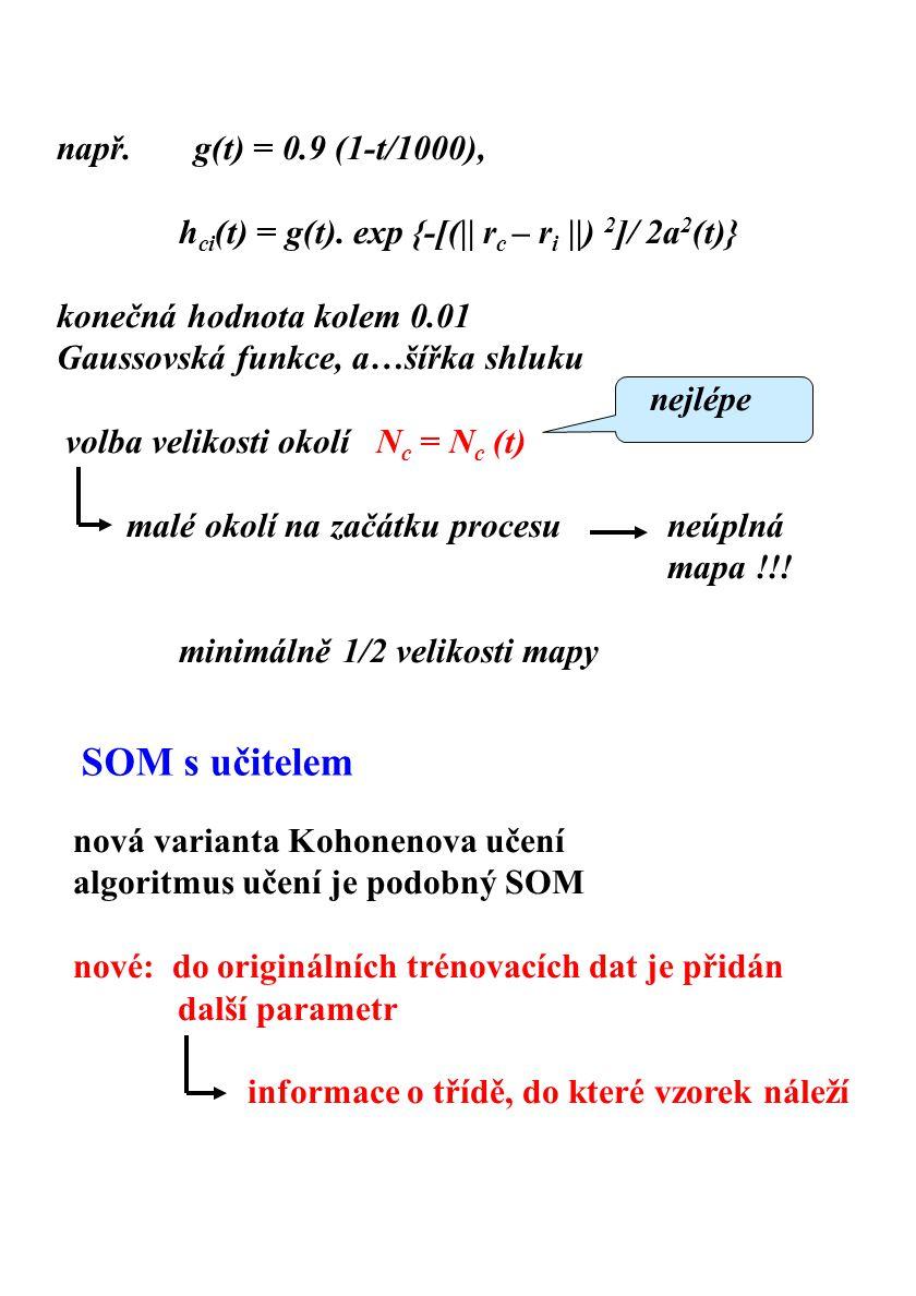 dimenze vstupního vektoru se zvětší o počet tříd, do kterých chceme klasifikovat u každého tréninkového vektoru má jeden z nových parametrů hodnotu 1 (to odpovídá přidané třídě), ostatní mají hodnotu 0 Důvod: zlepšení klasifikace Příklad Topologie sítě je 12 x 12 144 neuronů Trénování sítě: počet dětí je 20, věk 6-9 let, děvčata i chlapci trénují se samohlásky 1810 vektorů všech samohlásek Řečový korpus: děti ze ZŠ, nejsou rozděleny podle věku.