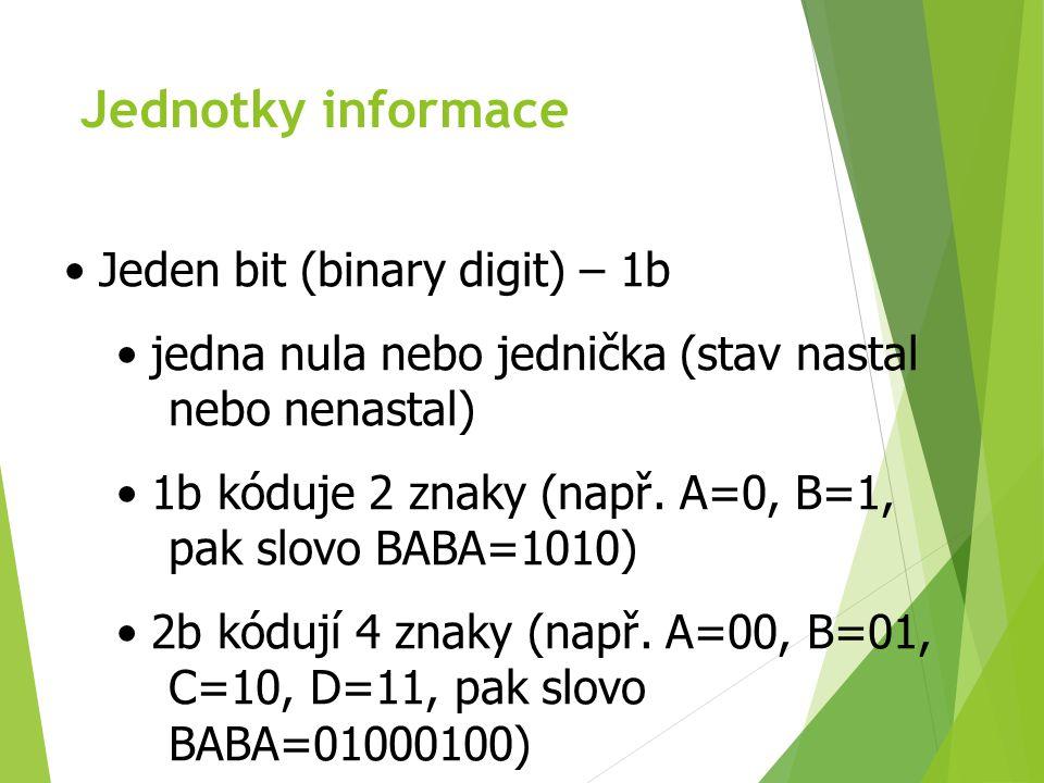 Jednotky informace Kolik kombinací lze vytvořit obecně?? 2 N, kde N je počet bitů