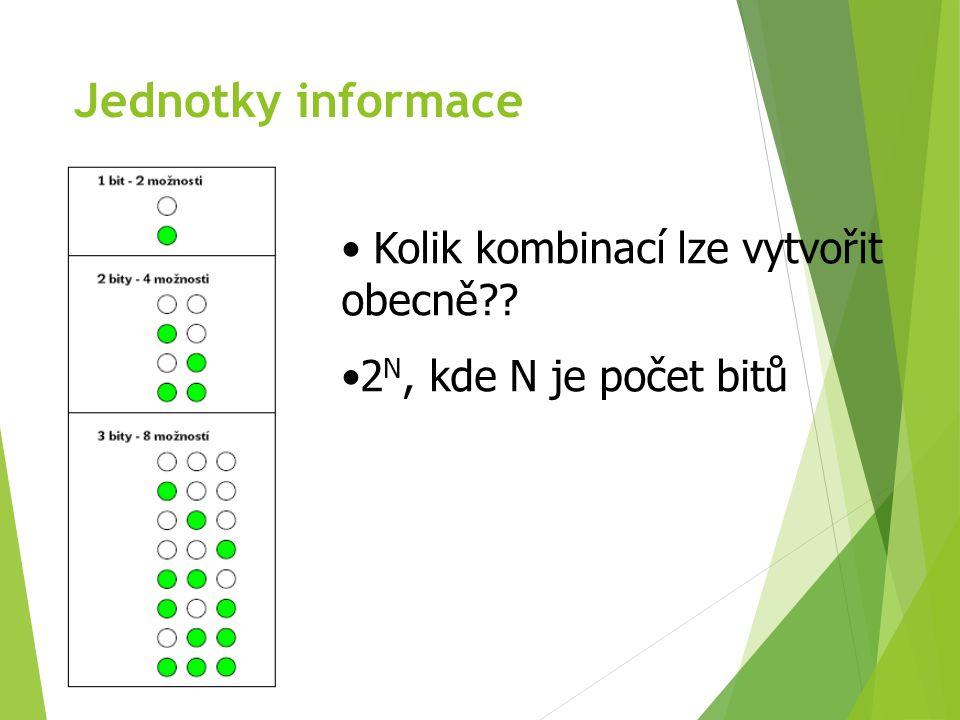 Jednotky informace Jeden byte – 1B 1B = 8b Do 1B je možno zakódovat 256 (2 8 ) různých hodnot Postačuje (s rezervou) k zakódování celé abecedy malých i velkých písmen