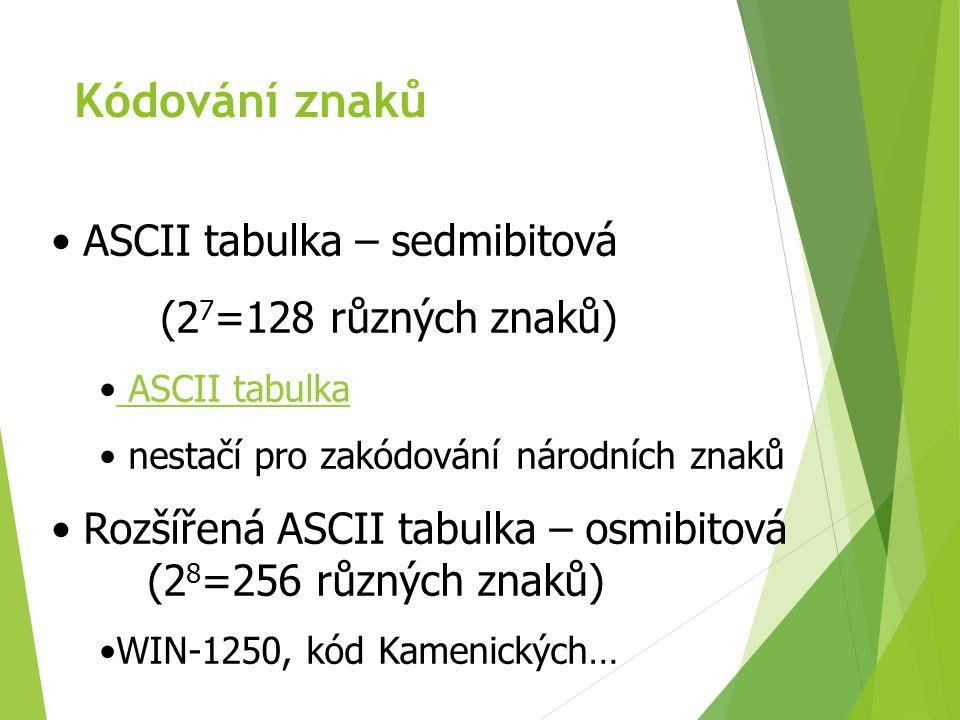 Kódování znaků UNICODE (přes 100 000 různých znaků) mezinárodní sjednocení nahrazení rozšířené ASCII tabulky