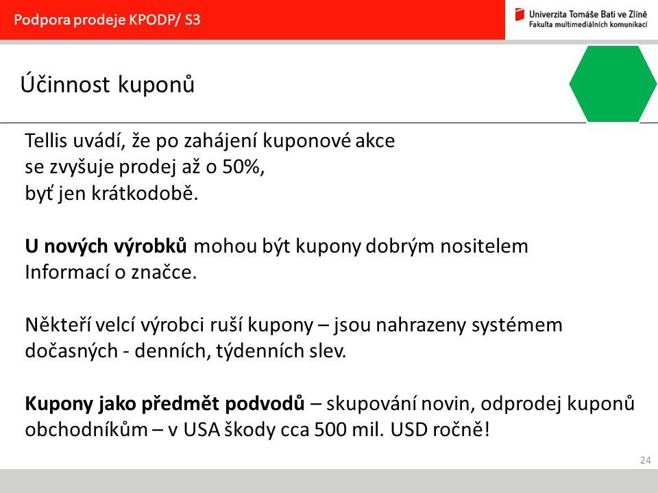 24 Účinnost kuponů Podpora prodeje KPODP/ S3 Tellis uvádí, že po zahájení kuponové akce se zvyšuje prodej až o 50%, byť jen krátkodobě. U nových výrob