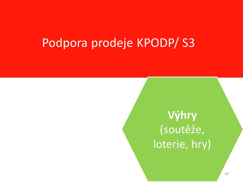 44 Podpora prodeje KPODP/ S3 Výhry (soutěže, loterie, hry)