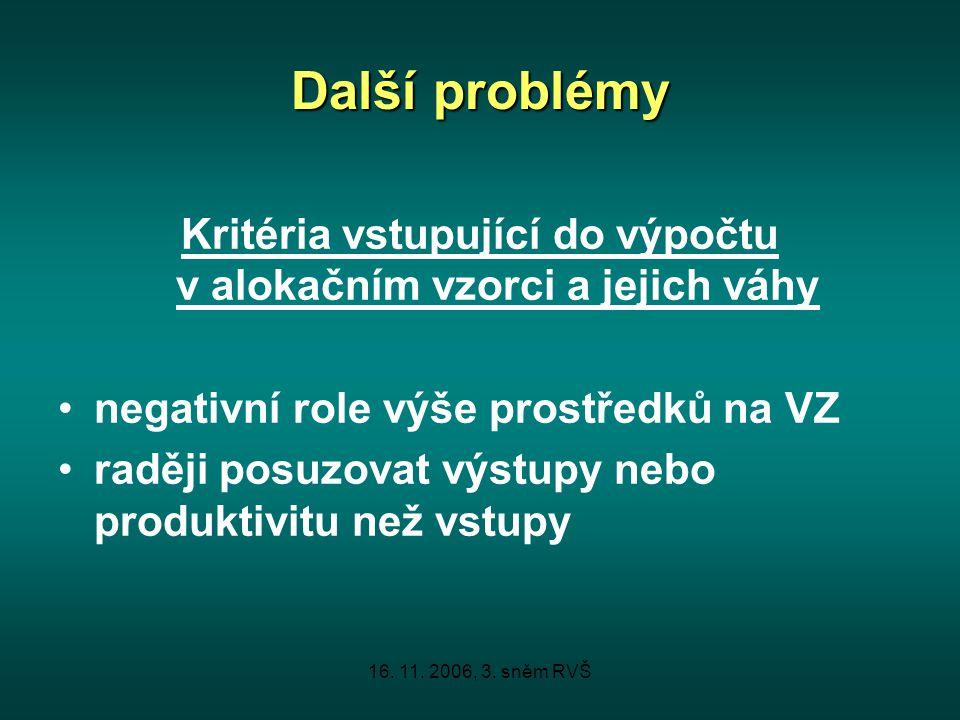 16. 11. 2006, 3. sněm RVŠ Další problémy Kritéria vstupující do výpočtu v alokačním vzorci a jejich váhy negativní role výše prostředků na VZ raději p