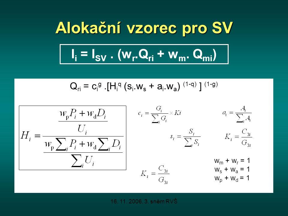 16. 11. 2006, 3. sněm RVŠ Alokační vzorec pro SV Q ri = c i g.[H i q (s i.w s + a i.w a ) (1-q) ] (1-g) I i = I SV. (w r.Q ri + w m. Q mi ) w m + w r
