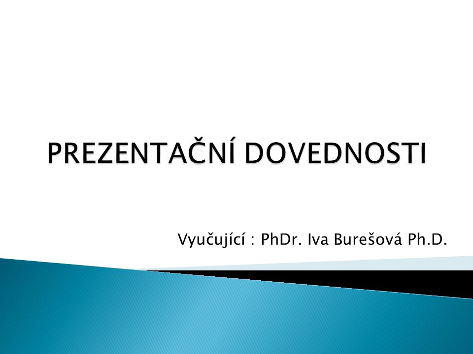 Vyučující : PhDr. Iva Burešová Ph.D.