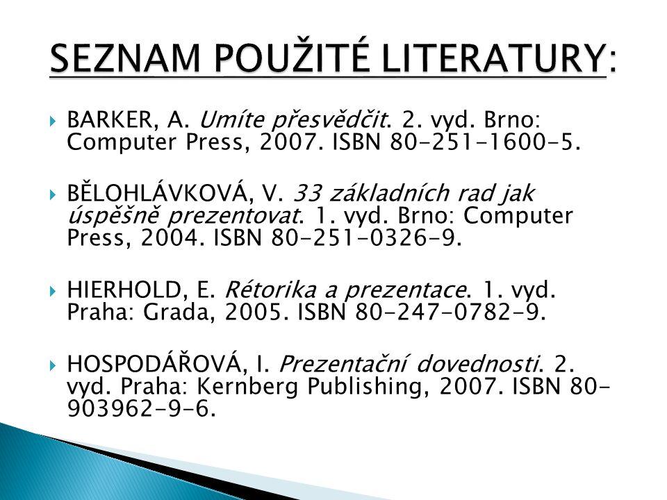  BARKER, A. Umíte přesvědčit. 2. vyd. Brno: Computer Press, 2007. ISBN 80-251-1600-5.  BĚLOHLÁVKOVÁ, V. 33 základních rad jak úspěšně prezentovat. 1