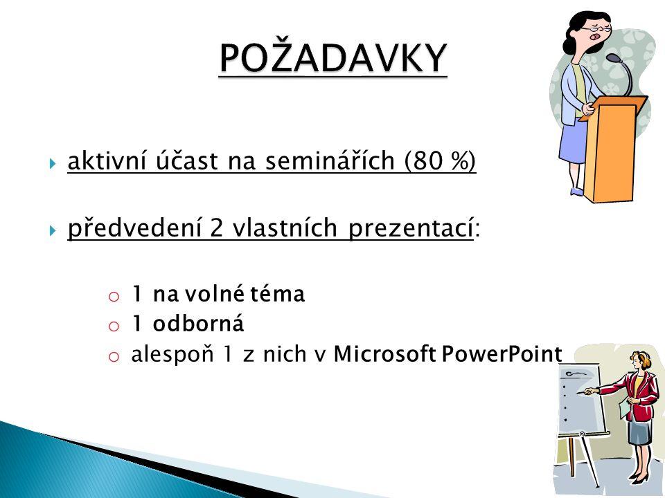  aktivní účast na seminářích (80 %)  předvedení 2 vlastních prezentací: o 1 na volné téma o 1 odborná o alespoň 1 z nich v Microsoft PowerPoint