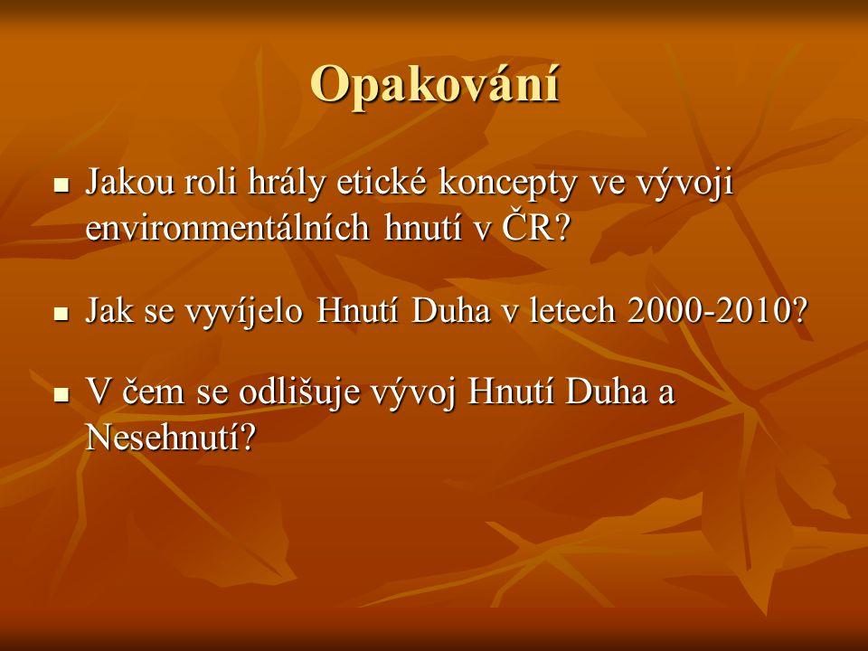 Opakování Jakou roli hrály etické koncepty ve vývoji environmentálních hnutí v ČR? Jakou roli hrály etické koncepty ve vývoji environmentálních hnutí