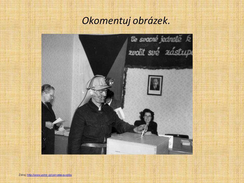 Okomentuj obrázek. Zdroj: http://www.ustrcr.cz/cs/vystava-volbyhttp://www.ustrcr.cz/cs/vystava-volby