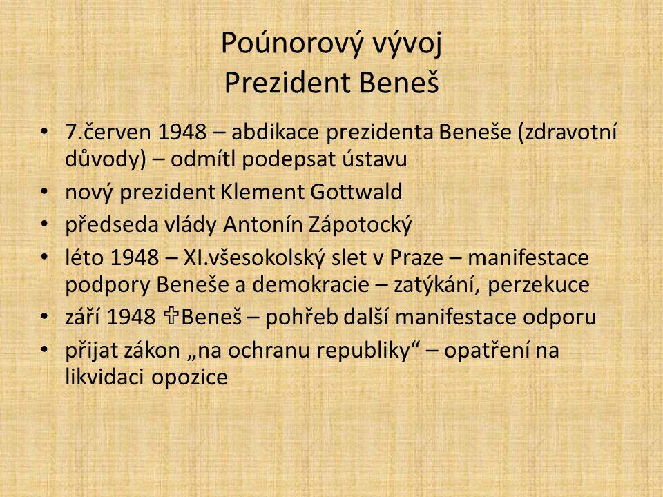 Poúnorový vývoj Prezident Beneš 7.červen 1948 – abdikace prezidenta Beneše (zdravotní důvody) – odmítl podepsat ústavu nový prezident Klement Gottwald