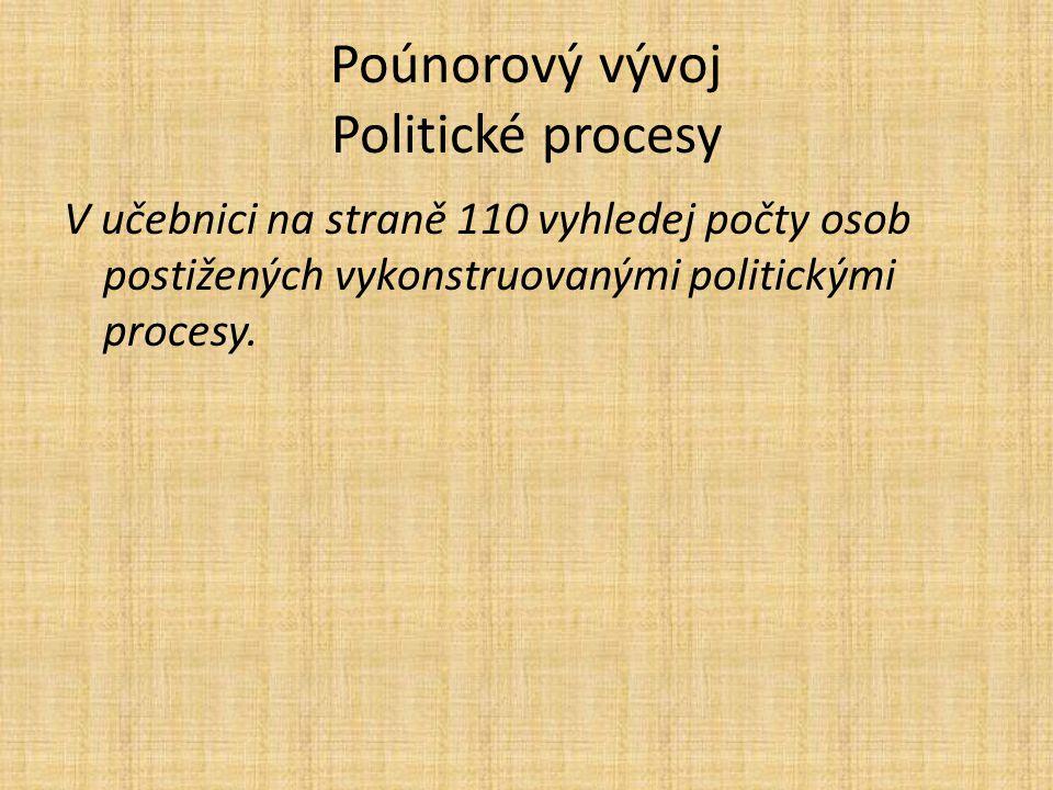 Poúnorový vývoj Politické procesy V učebnici na straně 110 vyhledej počty osob postižených vykonstruovanými politickými procesy.