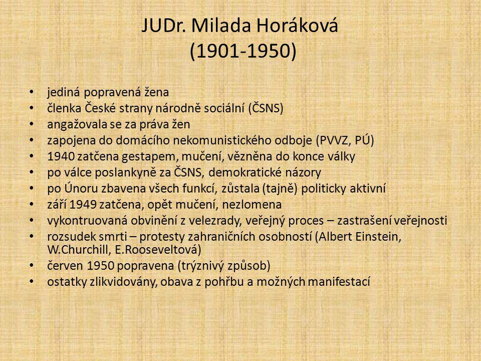 JUDr. Milada Horáková (1901-1950) jediná popravená žena členka České strany národně sociální (ČSNS) angažovala se za práva žen zapojena do domácího ne