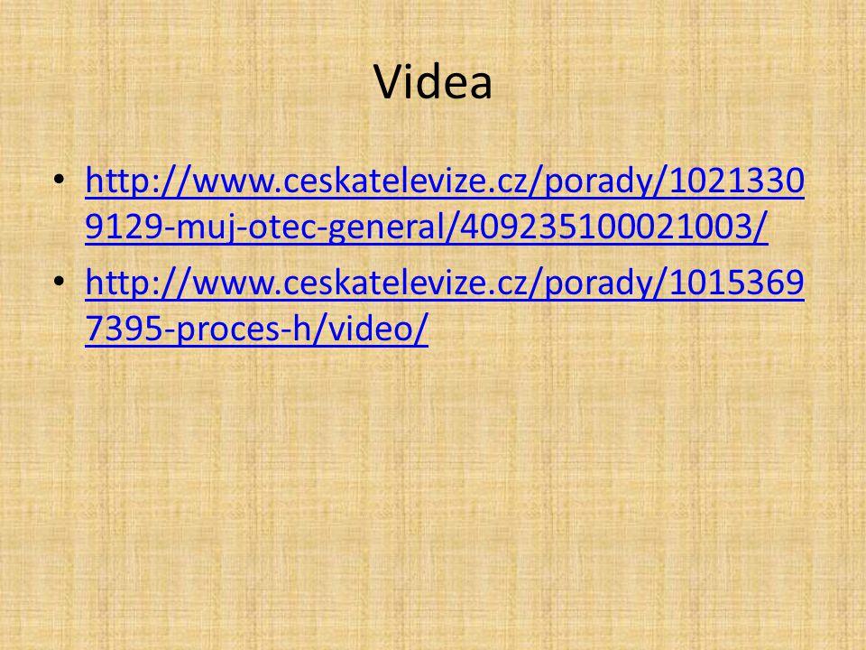 Videa http://www.ceskatelevize.cz/porady/1021330 9129-muj-otec-general/409235100021003/ http://www.ceskatelevize.cz/porady/1021330 9129-muj-otec-gener