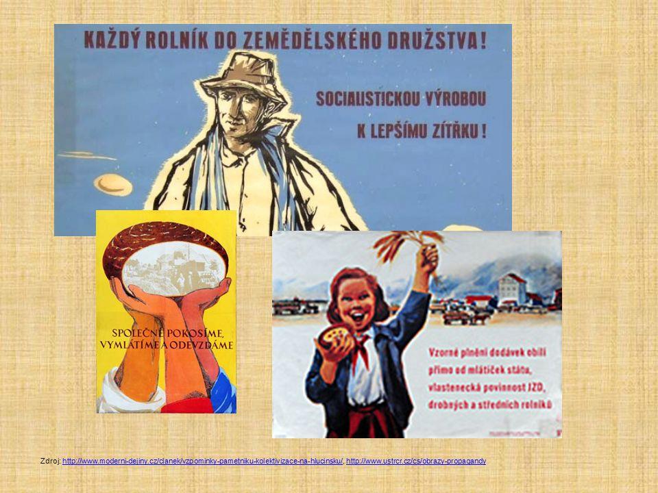 Zdroj: http://www.moderni-dejiny.cz/clanek/vzpominky-pametniku-kolektivizace-na-hlucinsku/, http://www.ustrcr.cz/cs/obrazy-propagandyhttp://www.modern