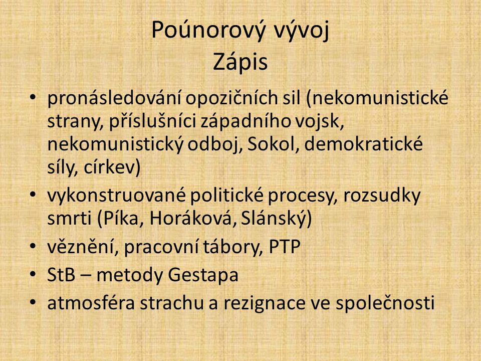 Poúnorový vývoj Zápis pronásledování opozičních sil (nekomunistické strany, příslušníci západního vojsk, nekomunistický odboj, Sokol, demokratické síl