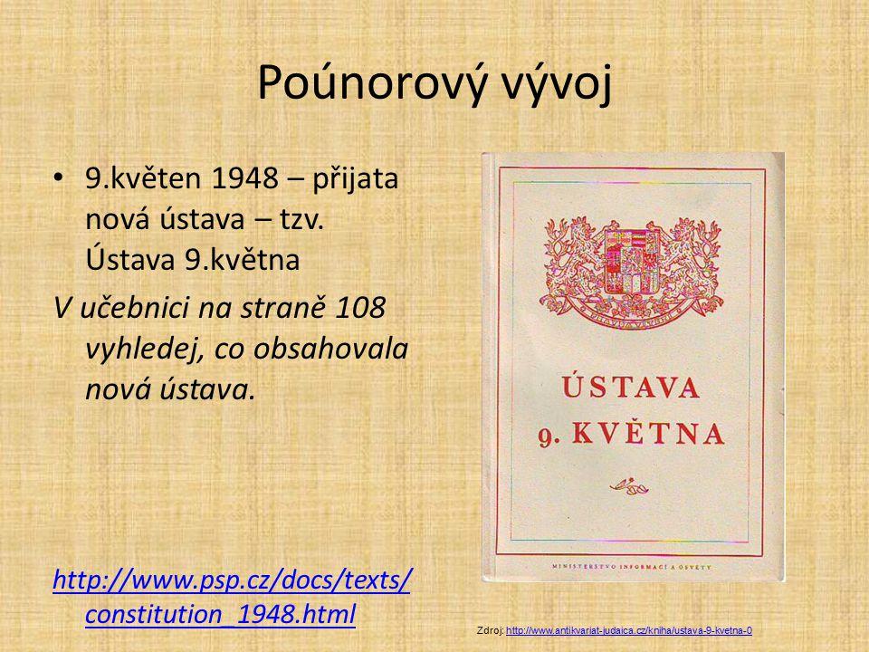 Poúnorový vývoj 9.květen 1948 – přijata nová ústava – tzv. Ústava 9.května V učebnici na straně 108 vyhledej, co obsahovala nová ústava. http://www.ps