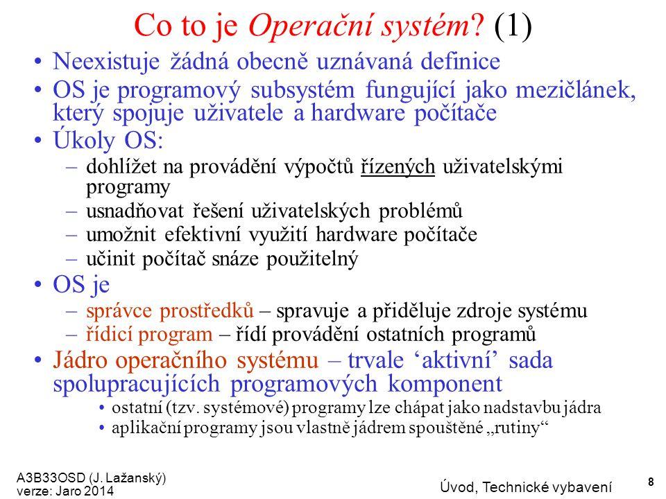 A3B33OSD (J. Lažanský) verze: Jaro 2014 Úvod, Technické vybavení 8 Co to je Operační systém.