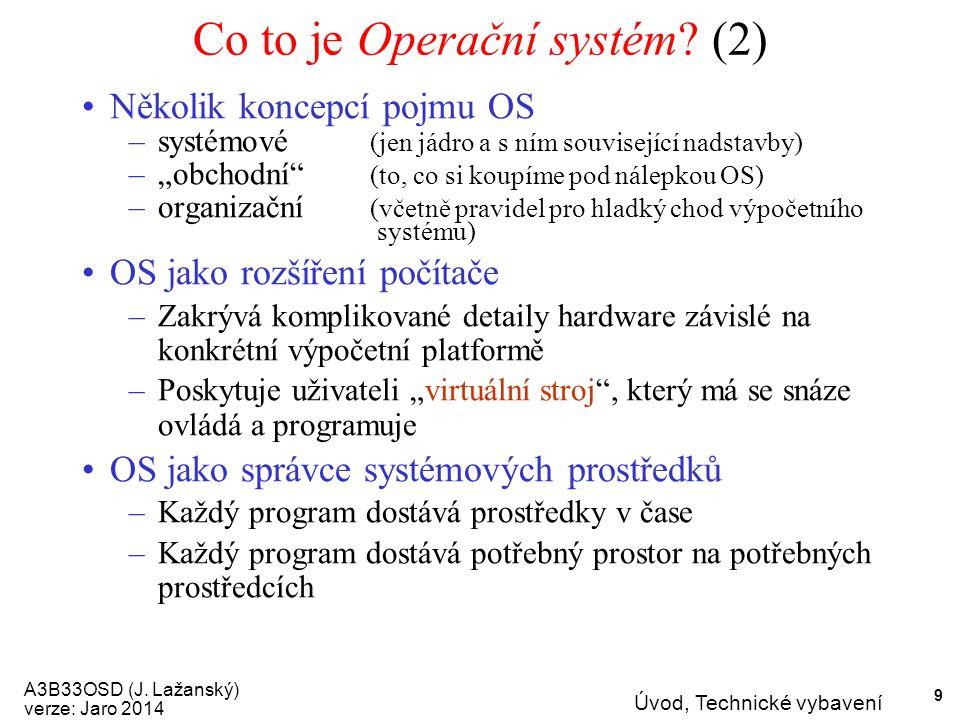 A3B33OSD (J. Lažanský) verze: Jaro 2014 Úvod, Technické vybavení 9 Co to je Operační systém.