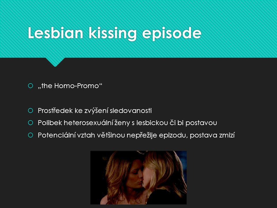 """Lesbian kissing episode  """"the Homo-Promo  Prostředek ke zvýšení sledovanosti  Polibek heterosexuální ženy s lesbickou či bi postavou  Potenciální vztah většinou nepřežije epizodu, postava zmizí  """"the Homo-Promo  Prostředek ke zvýšení sledovanosti  Polibek heterosexuální ženy s lesbickou či bi postavou  Potenciální vztah většinou nepřežije epizodu, postava zmizí"""