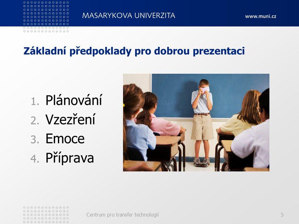 Základní předpoklady pro dobrou prezentaci 1.Plánování O čem všem chci mluvit.