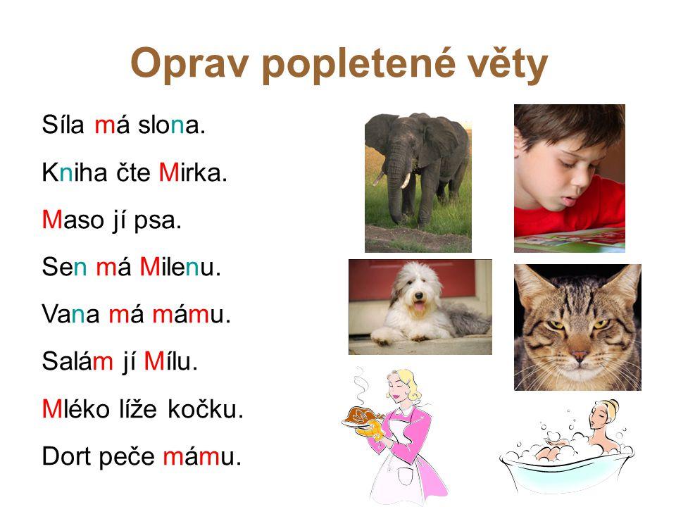 Oprav popletené věty Síla má slona. Kniha čte Mirka. Maso jí psa. Sen má Milenu. Vana má mámu. Salám jí Mílu. Mléko líže kočku. Dort peče mámu.