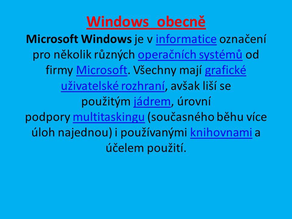 Windows obecně Microsoft Windows je v informatice označení pro několik různých operačních systémů od firmy Microsoft.