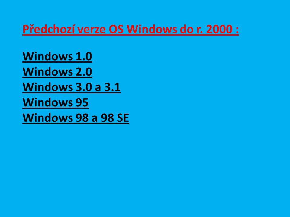 Předchozí verze OS Windows do r.