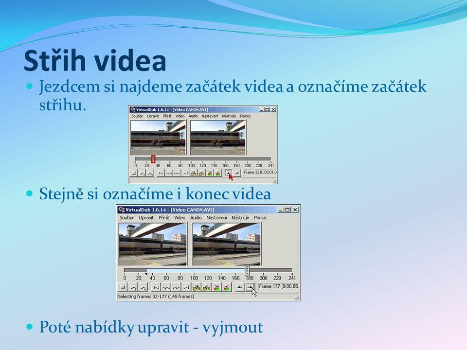 Střih videa Jezdcem si najdeme začátek videa a označíme začátek střihu.