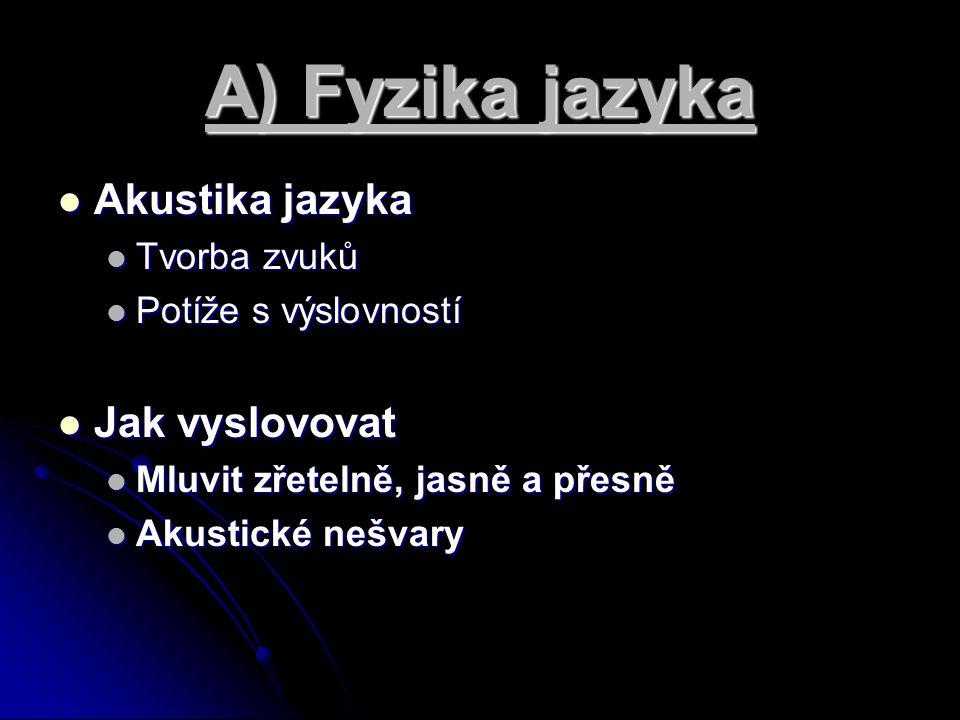 A) Fyzika jazyka Akustika jazyka Akustika jazyka Tvorba zvuků Tvorba zvuků Potíže s výslovností Potíže s výslovností Jak vyslovovat Jak vyslovovat Mlu