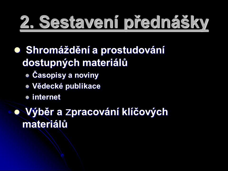 2. Sestavení přednášky Shromáždění a prostudování dostupných materiálů Shromáždění a prostudování dostupných materiálů Časopisy a noviny Časopisy a no