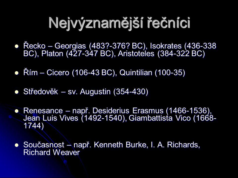 Nejvýznamější řečníci Řecko – Georgias (483?-376? BC), Isokrates (436-338 BC), Platon (427-347 BC), Aristoteles (384-322 BC) Řecko – Georgias (483?-37