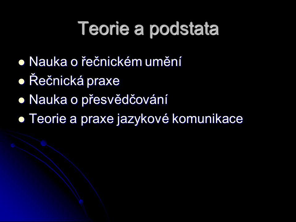 Teorie a podstata Nauka o řečnickém umění Nauka o řečnickém umění Řečnická praxe Řečnická praxe Nauka o přesvědčování Nauka o přesvědčování Teorie a p