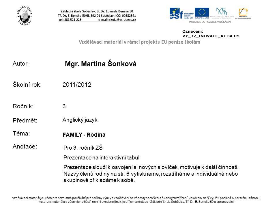 Základní škola Soběslav, tř. Dr. Edvarda Beneše 50 Tř.
